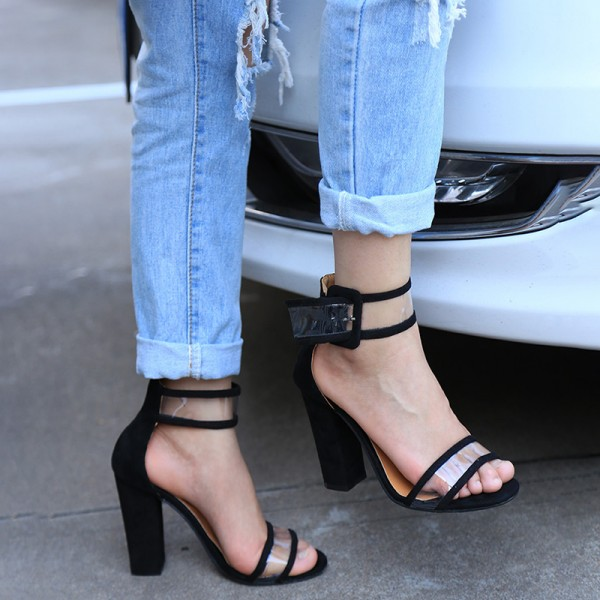 Black Ankle Strap Sandals Clear Open Toe Block Heels image 5