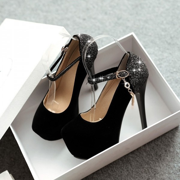 Black Platform Heels Glitter Suede Stilettos High Heel Shoes image 5