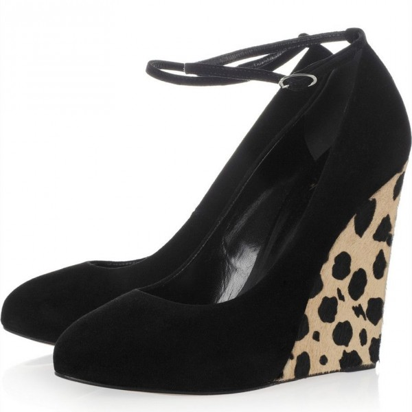 Black Suede and Leopard Print Horse Fur Wedge Heels Ankle Strap Pumps image 1