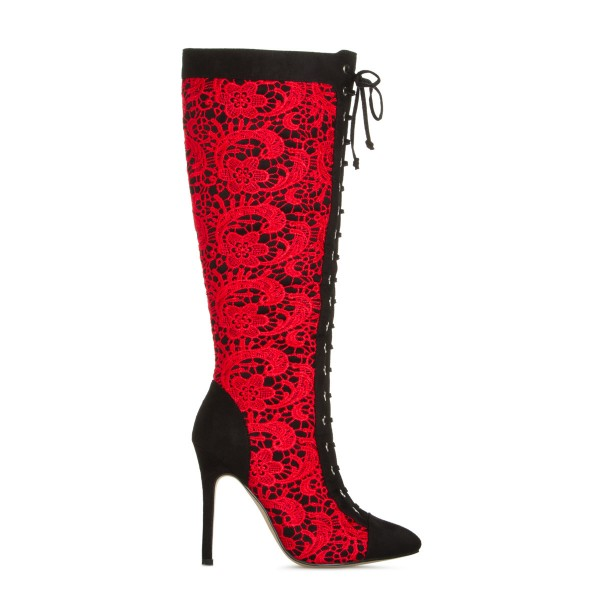 Red Lace Fashion Boots Stiletto Boots Lace Up Peep Toe Mid-calf Boots image 3
