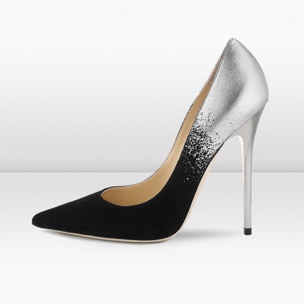 6901d2ab936 Black Suede and Silver Prom Shoes Stiletto Heel Pumps