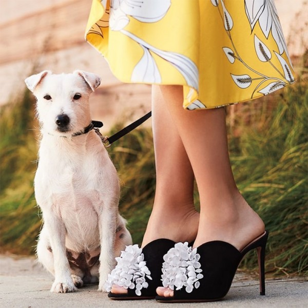 Black Suede and White Flower Peep Toe Stiletto Heel Mules image 2