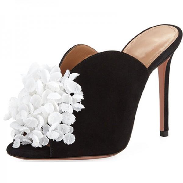 Black Suede and White Flower Peep Toe Stiletto Heel Mules image 1