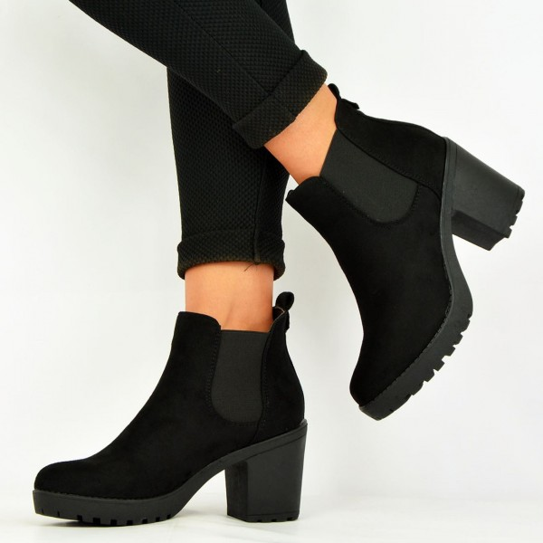 99929aaa2759a ... Women s Black Chelsea Boots Suede Round Toe Chunky Heels Ankle Boots  image ...