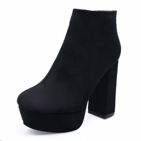 Fashion Black Vintage Boots Block Heel Suede Ankle Boots image 5