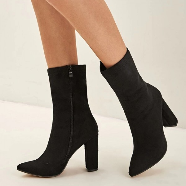Black Suede Boots Chunky Heel Ankle Boots for Women image 3