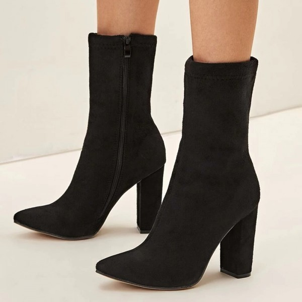 Black Suede Boots Chunky Heel Ankle Boots for Women image 1