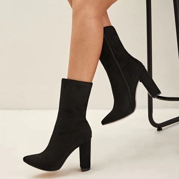 Black Suede Boots Chunky Heel Ankle Boots for Women image 4
