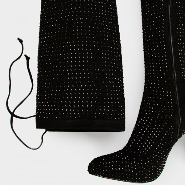 Black Suede Boots Rhinestone Chunky Heel Thigh High Boots  image 3
