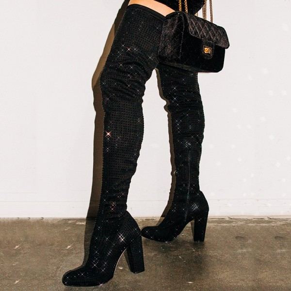 Black Suede Boots Rhinestone Chunky Heel Thigh High Boots  image 2