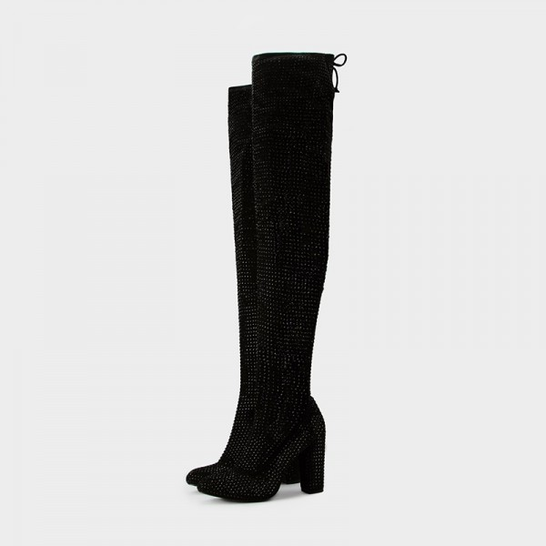 Black Suede Boots Rhinestone Chunky Heel Thigh High Boots  image 1