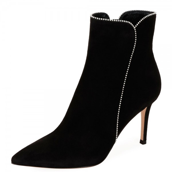 Black Suede Boots Rhinestone Stiletto Heel Ankle Boots image 1