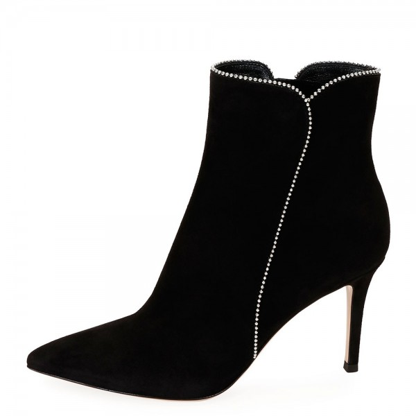 Black Suede Boots Rhinestone Stiletto Heel Ankle Boots image 2