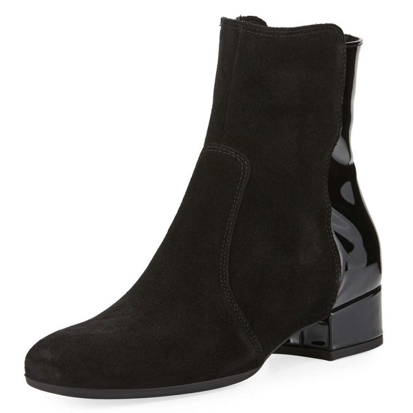 Black Suede Boots Round Toe Flat Ankle Booties US Size 3-15 image 1