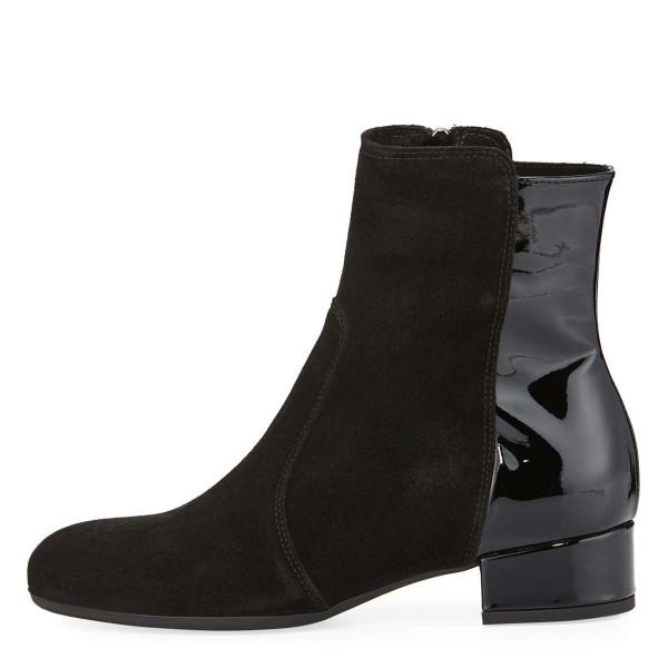 Black Suede Boots Round Toe Flat Ankle Booties US Size 3-15 image 2
