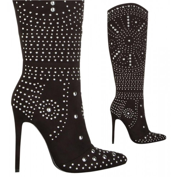 Black Suede Boots Studded Stiletto Heel Calf Length Boots image 2