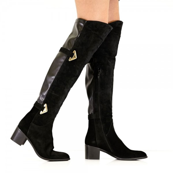 Black Suede Buckle Long Boots Round Toe Flat Over-the-Knee Boots image 3
