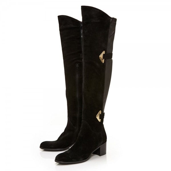 3f8cc4771047c Black Suede Buckle Long Boots Round Toe Flat Over-the-Knee Boots image ...