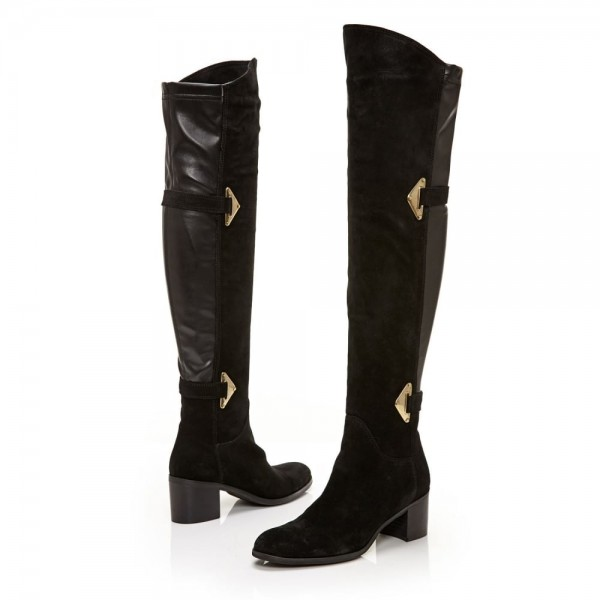 Black Suede Buckle Long Boots Round Toe Flat Over-the-Knee Boots image 4