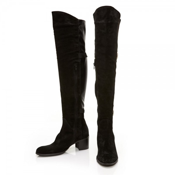 Black Suede Buckle Long Boots Round Toe Flat Over-the-Knee Boots image 5