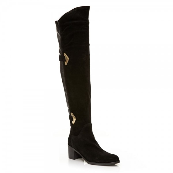 Black Suede Buckle Long Boots Round Toe Flat Over-the-Knee Boots image 6