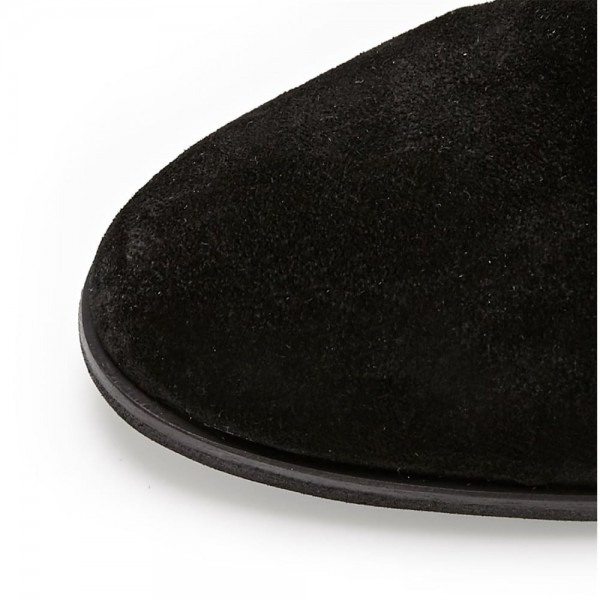 Black Suede Buckle Long Boots Round Toe Flat Over-the-Knee Boots image 7
