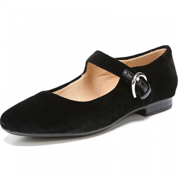 Black Suede Buckle Mary Jane Shoes Comfortable Flats image 1