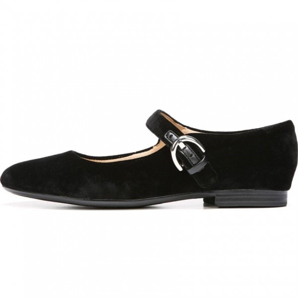 Black Suede Buckle Mary Jane Shoes Comfortable Flats image 2