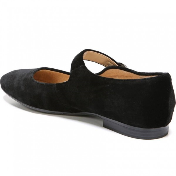 Black Suede Buckle Mary Jane Shoes Comfortable Flats image 3