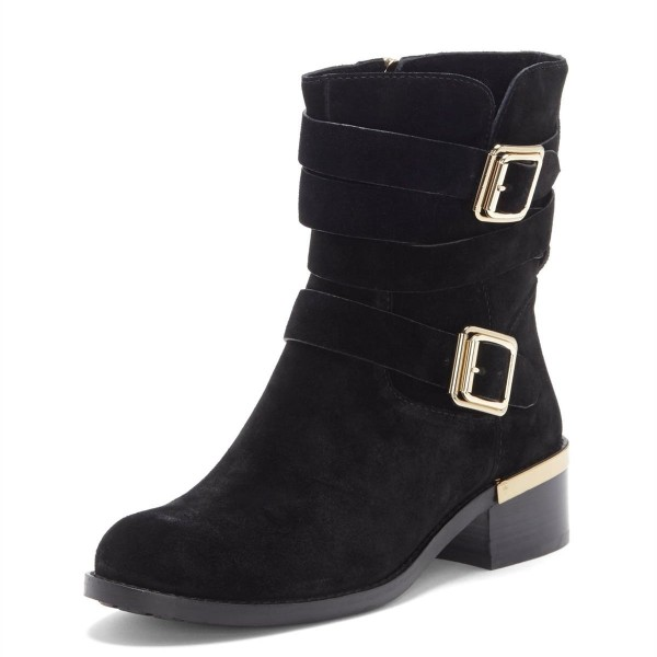 Black Suede Buckles Chunky Heel Boots Ankle Boots image 1
