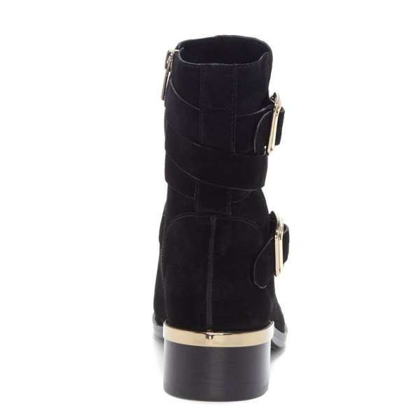 Black Suede Buckles Chunky Heel Boots Ankle Boots image 2