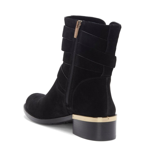 Black Suede Buckles Chunky Heel Boots Ankle Boots image 4