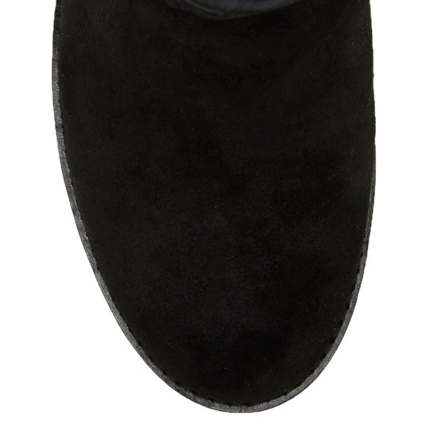 Black Suede Buckles Chunky Heel Boots Ankle Boots image 5