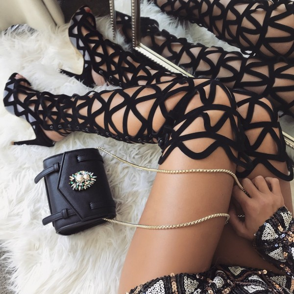 Black Suede Caged Summer Boots Stiletto Heel over the Knee Boots image 1