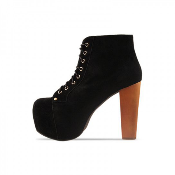 Black Suede Chunky Heel Boots Lace up Platform Ankle Booties image 1