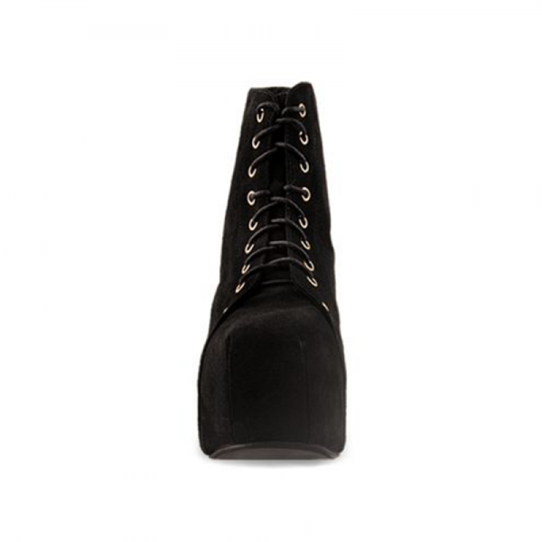Black Suede Chunky Heel Boots Lace up Platform Ankle Booties image 4