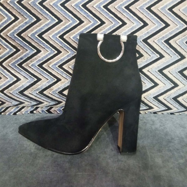 Black Suede Classic Chunky Heel Ankle Booties image 1