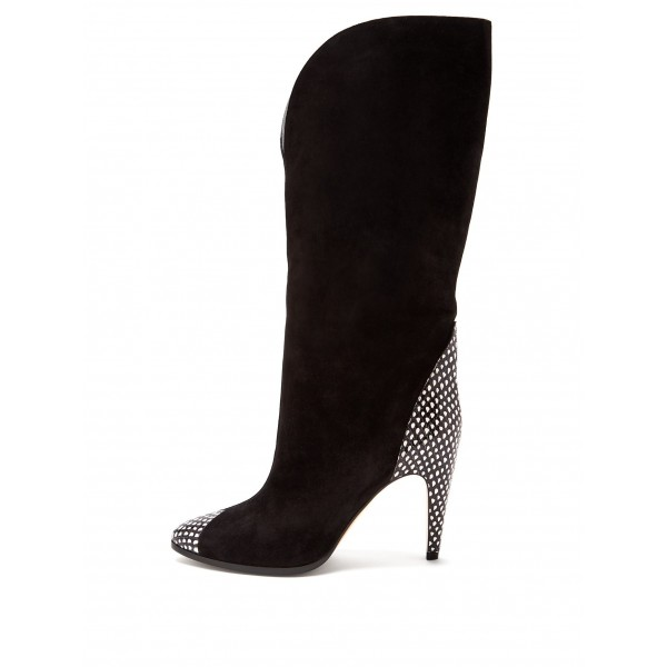 Black Suede Fashion Boots Mid Calf Boots image 2