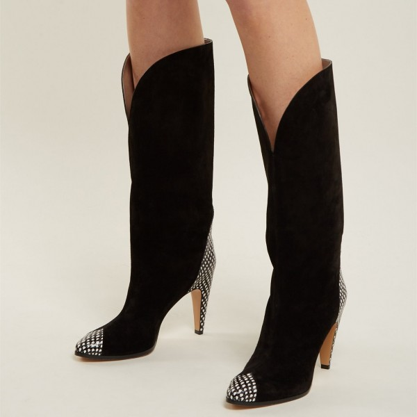 Black Suede Fashion Boots Mid Calf