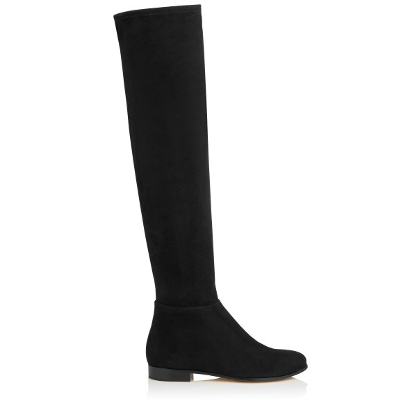 Black Flat Thigh High Boots Round Toe Suede Long Boots image 2
