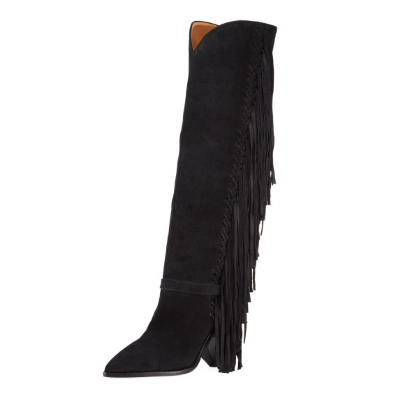 Black Suede Fringe Boots Chunky Heels Knee High Boots for Women image 1