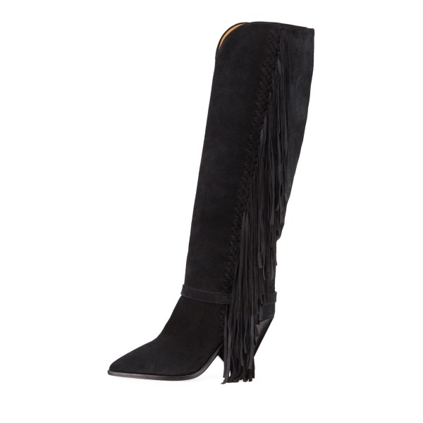 Black Suede Fringe Boots Chunky Heels Knee High Boots for Women image 2