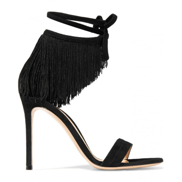 Black Fringe Sandals Suede Open Toe Stiletto Heels Summer Sandals image 5
