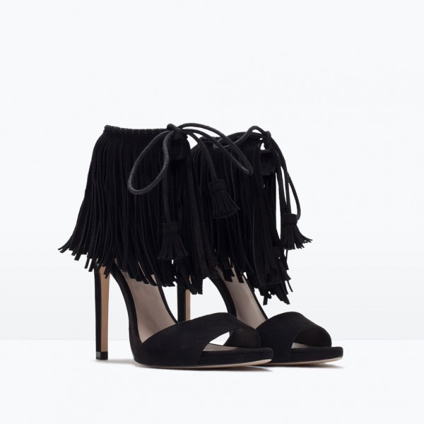 Black Fringe Sandals Suede Lace up Stiletto Heels for Women image 6