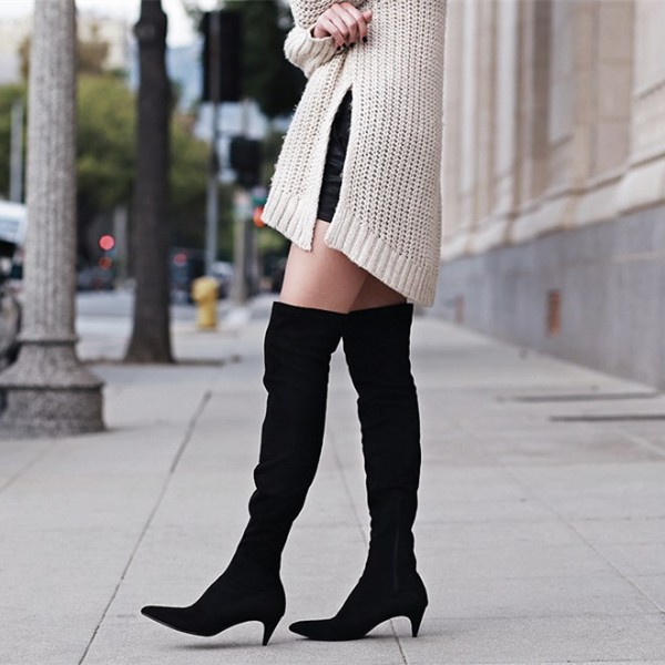 Black Suede Knee High Heel Boots Pointy Toe Cone Heels Long Boots image 1