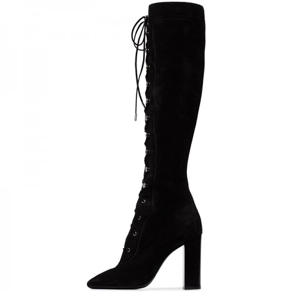 Black Suede Lace Up Boots Chunky Heel Knee High Boots image 3