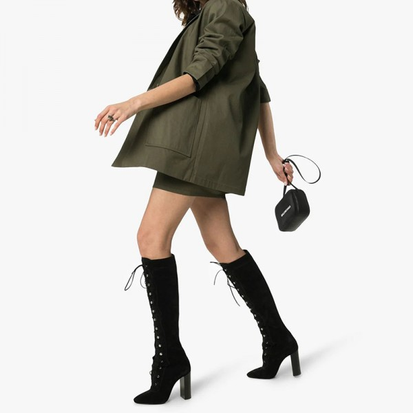 Black Suede Lace Up Boots Chunky Heel Knee High Boots image 4