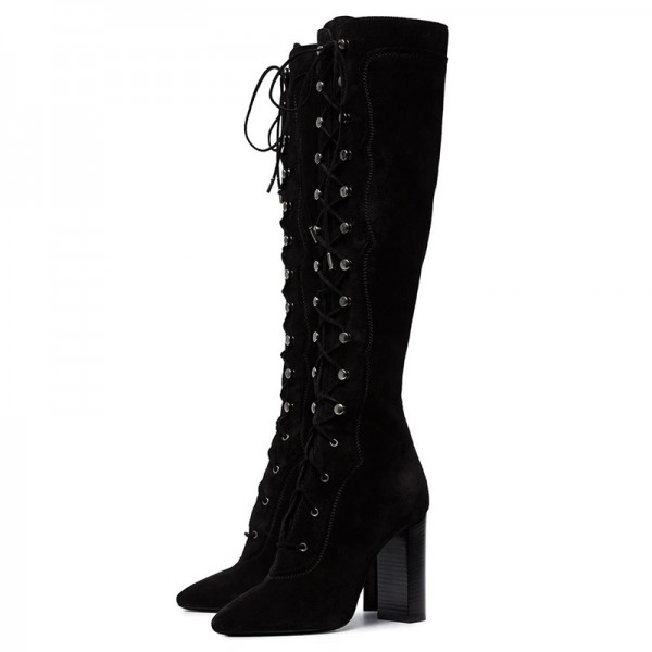 Black Suede Lace Up Boots Chunky Heel Knee High Boots image 1