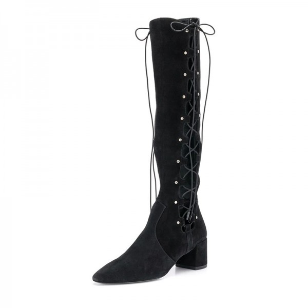 Black Suede Lace Up Boots Hollow Out Chunky Heel Knee High Boots  image 1