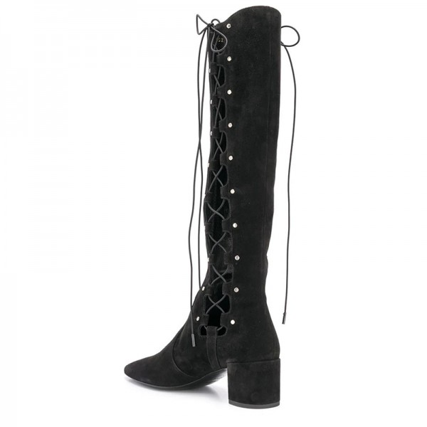 Black Suede Lace Up Boots Hollow Out Chunky Heel Knee High Boots  image 4